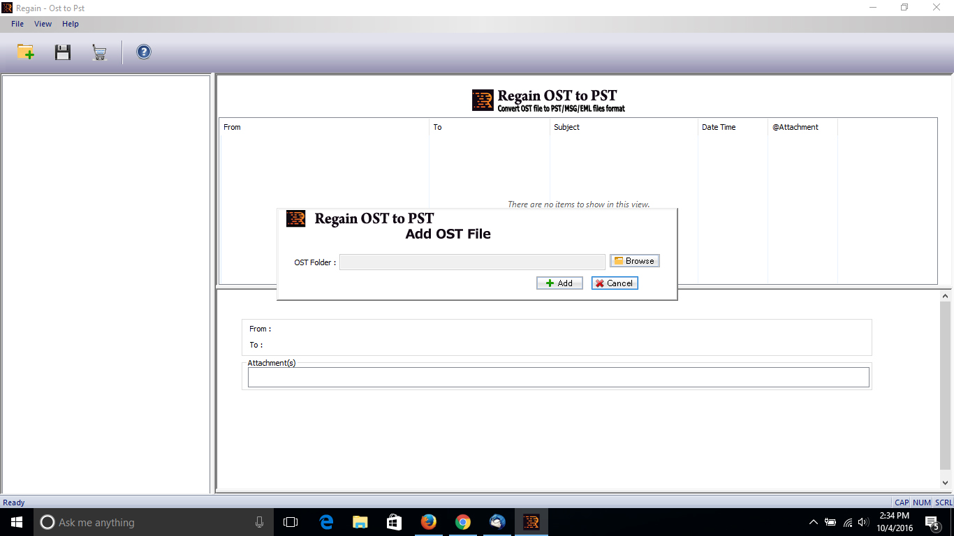 Screenshot of Open OST Data to Outlook PST 17.1.07.22